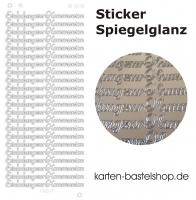Platin-Sticker (Spiegelglanz) - Einladung zur Kommunion - silber - 3032