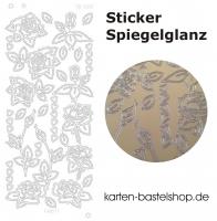 Platin-Sticker (Spiegelglanz) - Rosen und Herzen - gold - 3081