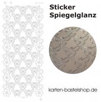 Platin-Sticker (Spiegelglanz) - Schmetterlinge und Blumen - silber - 3078