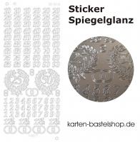 Platin-Sticker (Spiegelglanz) - Jubiläum - silber - 3048