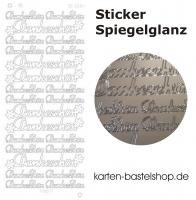 Platin-Sticker (Spiegelglanz) - Dankeschön - silber - 3034