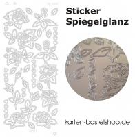 Platin-Sticker (Spiegelglanz) - Rosen und Herzen - silber - 3081