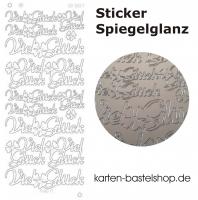 Platin-Sticker (Spiegelglanz) - Viel Glück - silber - 3037