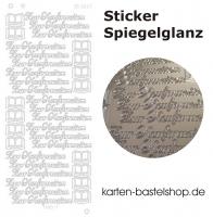 Platin-Sticker (Spiegelglanz) - Zur Konfirmation - silber - 3027
