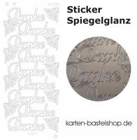 Platin-Sticker (Spiegelglanz) - Danke - silber - 3038