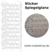 Platin-Sticker (Spiegelglanz) - Herzlichen Glückwunsch - silber - 3036
