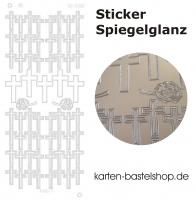 Platin-Sticker (Spiegelglanz) - Kreuze - silber - 3086