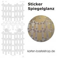 Platin-Sticker (Spiegelglanz) - Kreuze - gold - 3086