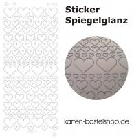 Platin-Sticker (Spiegelglanz) - Herzen - silber - 3080