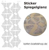 Platin-Sticker (Spiegelglanz) - Schmetterlinge groß - gold - 3077