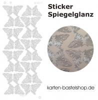 Platin-Sticker (Spiegelglanz) - Schmetterlinge groß - silber - 3077