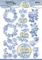 3D-Bogen - Vintage Rosen blau - Jeanines Art