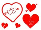 Sticker - Herzen 3 - rot - 801