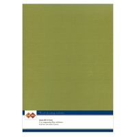 Karten-Karton mit Leinenstruktur A4 - olive green - 1 Bogen
