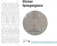 Platin-Sticker (Spiegelglanz) - Baumschmuck - silber - 3095