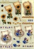 3D-Bogen Sonnenblumen und Veilchen von LeSuh (4169885)