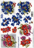 3D-Bogen Rote und blaue Blumen von LeSuh (4169275)