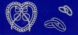 Sticker - Ringe, Herzen & Rosen - silber - 803